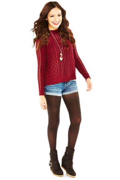 sweater burgundy sweater shorts tights booties shoes