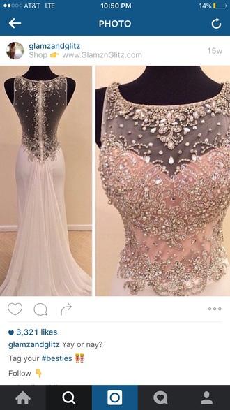 dress prom white beaded