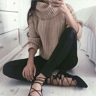 sweater turtleneck knitwear ribbed brown caramel nude knitted sweater leggings