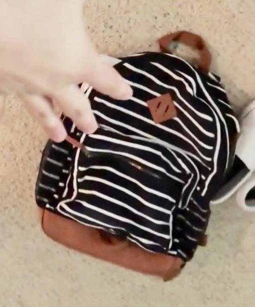 bag navy shoulder bag backpack white brown bruhitszach