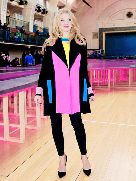 coat natalie dormer colorful pink blue