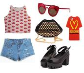 moschino,phone cover,outfit,outfit idea,lookbook,lips,bag,top,shoes,shorts