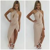 dress,beige,beige dress,beige formal dress,beige prom dress,nude,nude prom dress,nude formal dress,nude dress,bodycon,peppermayo