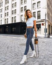 pants,draped,high waisted pants,top,white boots,bag