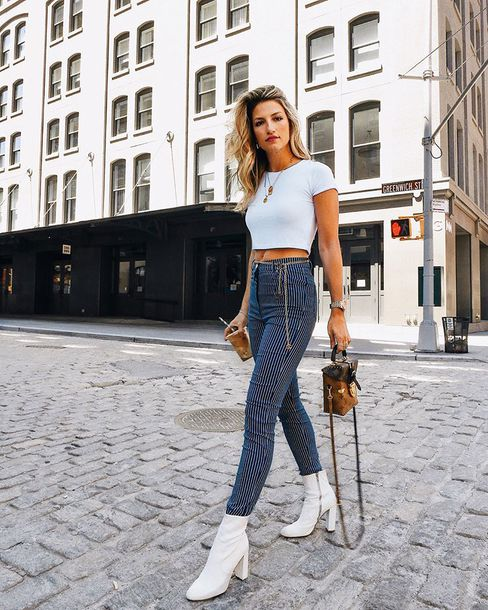 pants draped high waisted pants top white boots bag