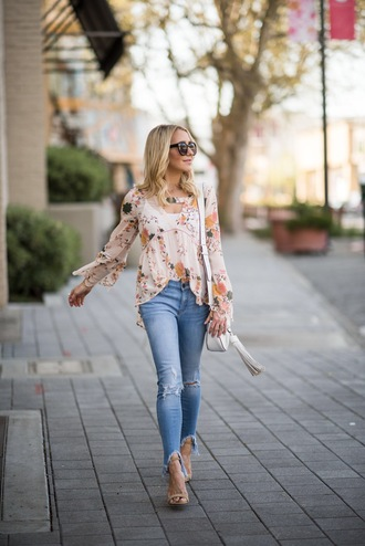 gbo fashion blogger blouse jeans shoes bag jewels floral blouse floral top sandals high heel sandals shoulder bag spring outfits