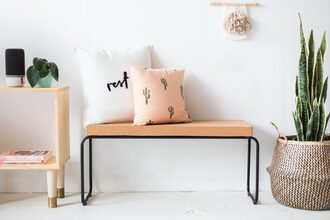 home accessory home furniture diy wood bench plants living room bedroom home decor pillow