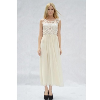 dress beige prom dress full length dress party dress