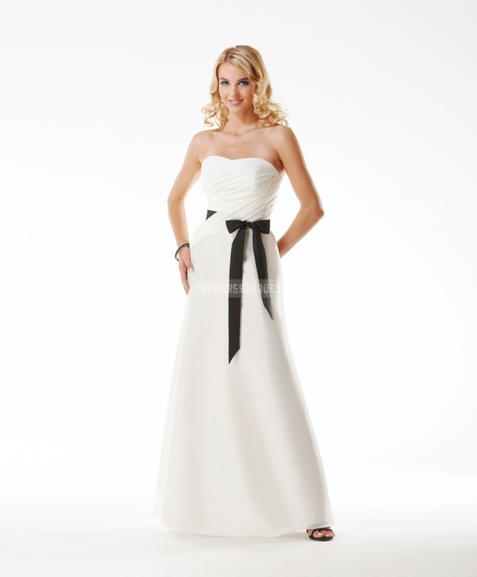 Ruching White Ribbon Zipper Long Strapless Evening Dress - Promdresshouse.com