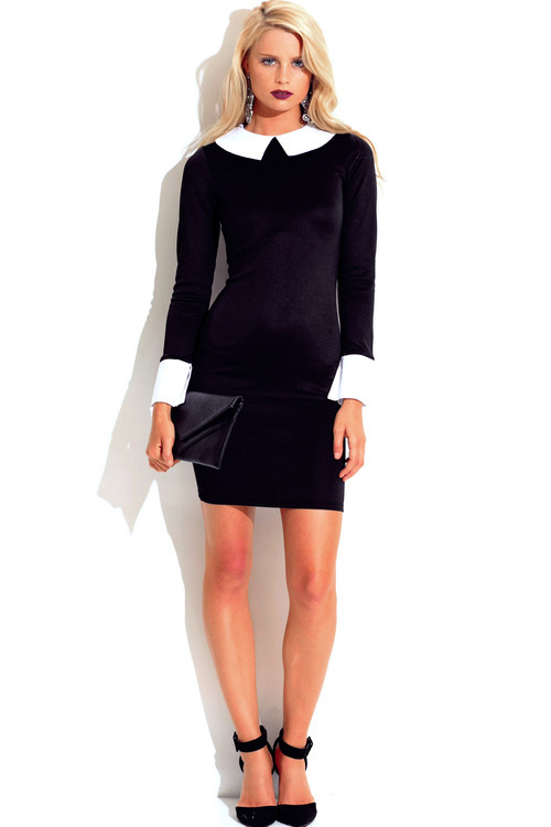 Lethalbeauty ? black/white wide collar fitted bodycon dress