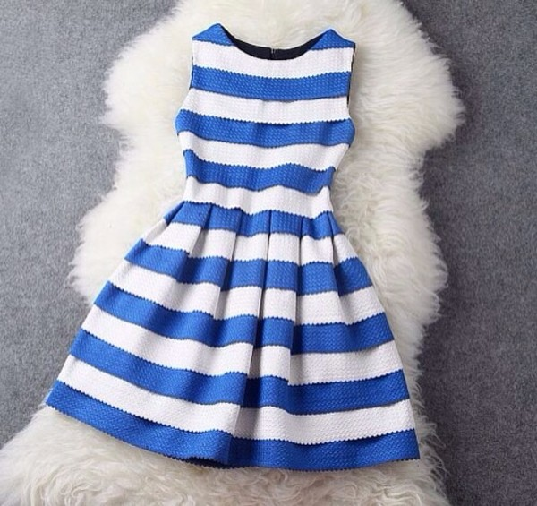 dress stripes blue dress white dress summer dress