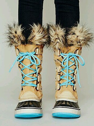 shoes turquoise boots boots with fur winter boots