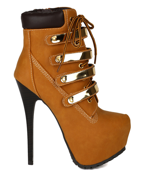 Camel gold plated lace up booties