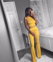 top,yellow,matching set,cute,crop tops,flare pants,tank top