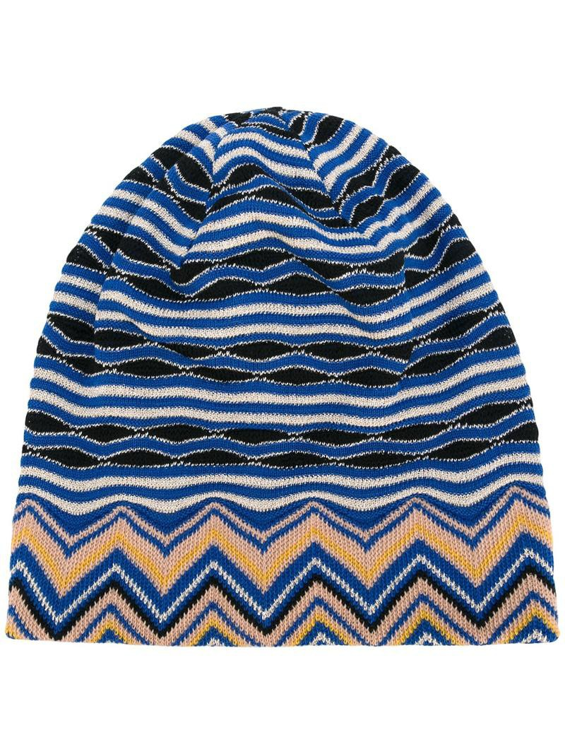 Knit Zig Zag Hat Pattern : Missoni zig zag pattern knit beanie women s blue