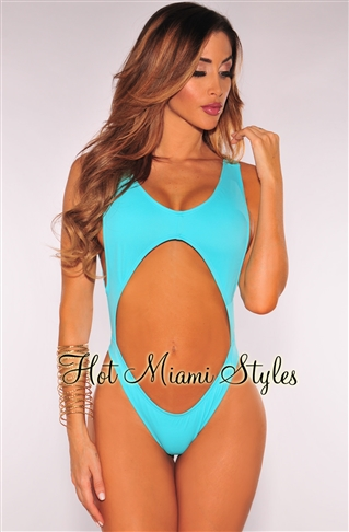 1870622144f Turquoise Cut Out Ultra High Cut Swimsuit