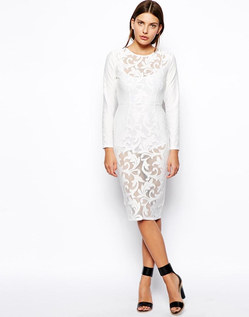 ASOS Premium Lace Bodysuit Dress at asos.com