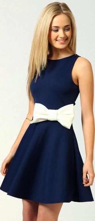 blue dress bow dress navy blue dress white bow little dress designer dress fashion cute dress