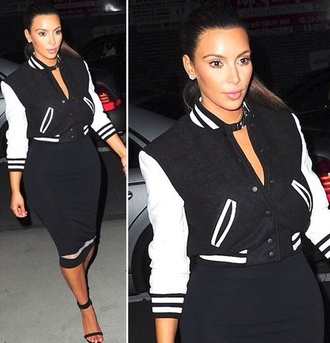 jacket american football black and white pencil skirt skin tight kim kardashian smart casual