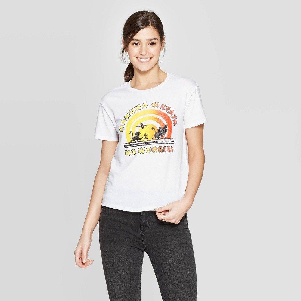 Women's disney lion king hakuna matata short sleeve graphic t-shirt (juniors') - white m