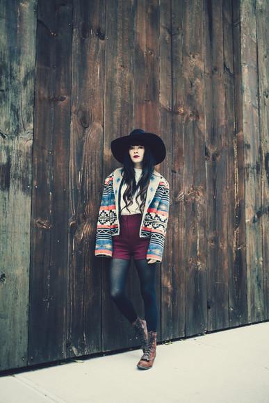 blouse jacket navajo jag lever blogger felt hat fall outfits