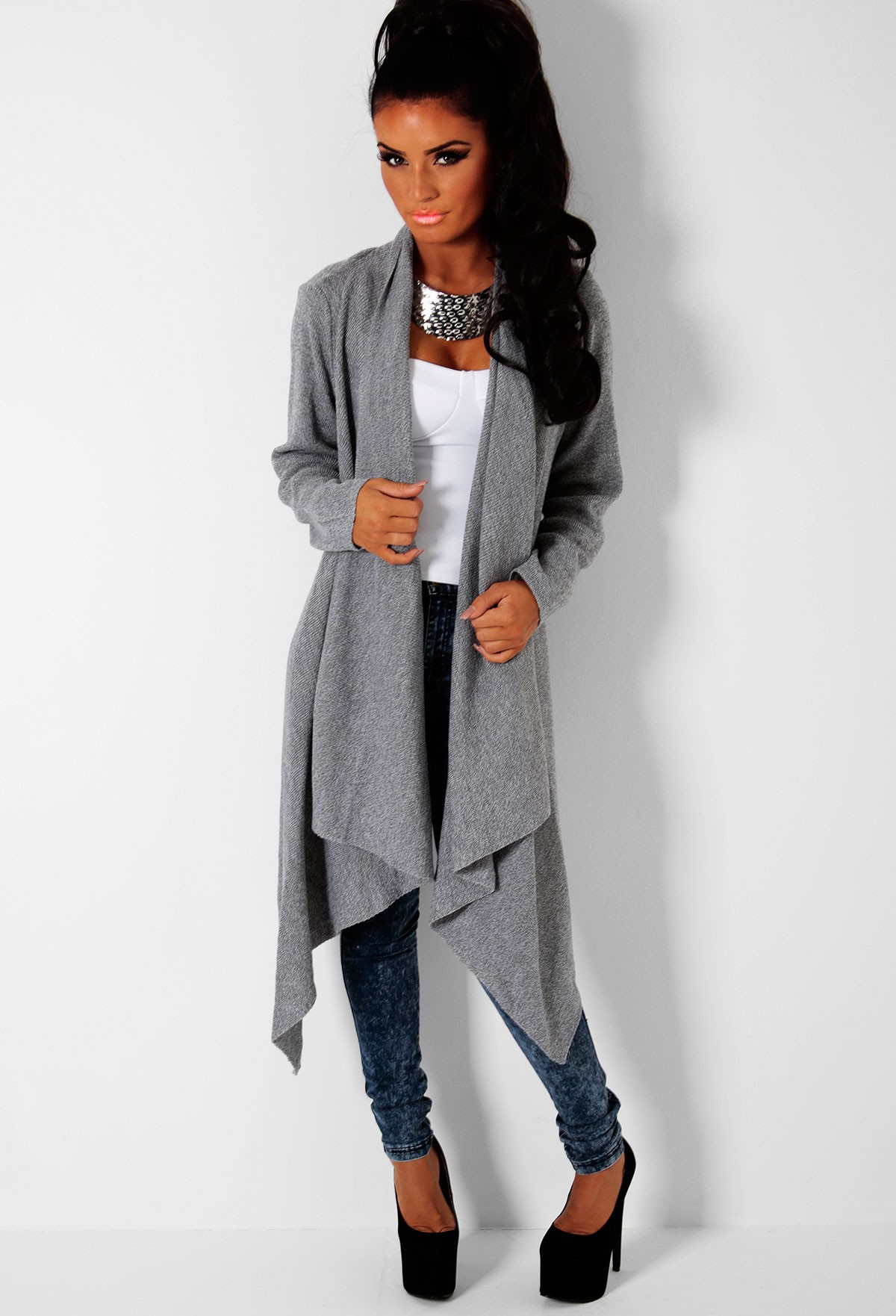 Grey Draped Waterfall Cardigan | Pink Boutique