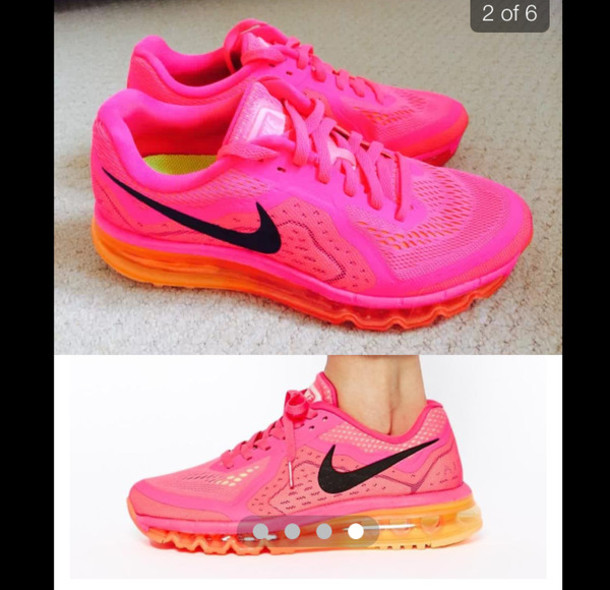 shoes pink nike airmax neon pink neon pink shoes neon