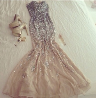 dress long prom dress prom dress love it sequin dress sequins nude