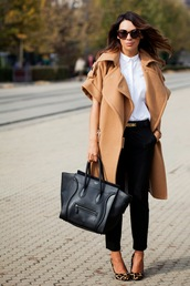 cashmere in style,coat,shirt,pants,belt,bag,shoes,sunglasses,camel coat,j brand,saint laurent,moschino belt
