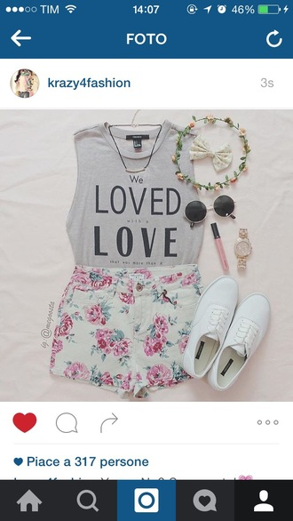 hair accessory sunglasses tank top shorts