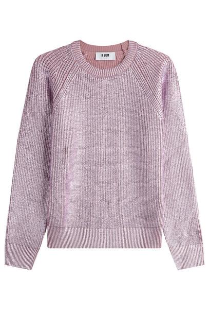 pullover metallic wool pink sweater