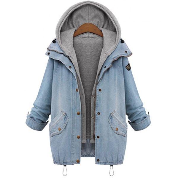 Straight Thick Denim Jacket Sleeveless Hooded Waistcoat Twinset ...