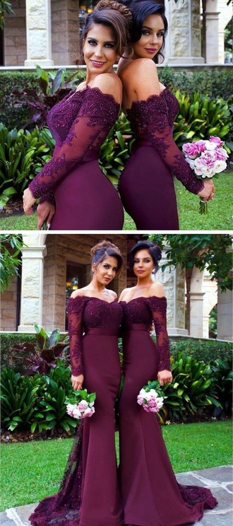 dress burgundy lace dress bridesmaid prom dress prom evening dress gown satin mermaid prom dress sexy prom dress long evening dress formal dress long sleeve dress long sleeve prom dress