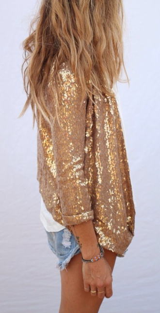jacket gold sequins blazer