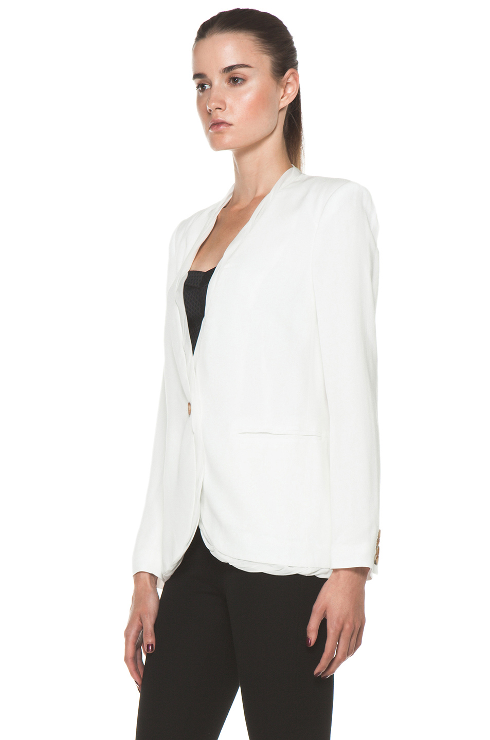 Helmut Lang|Relic Twist Viscose Blazer in Soft White