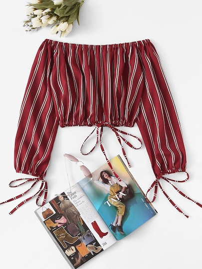 Off The Shoulder Striped Crop Blouse