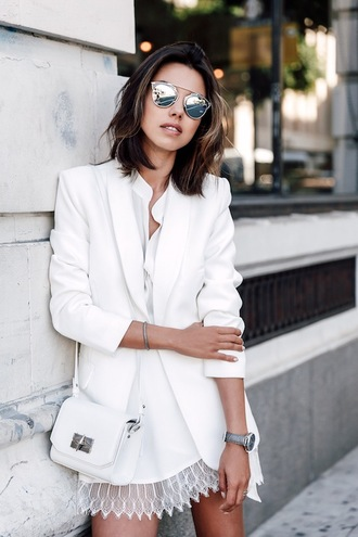 le fashion image blogger mirrored sunglasses dior all white everything white blazer white shirt white dress white lace dress white bag dior sunglasses dior so real