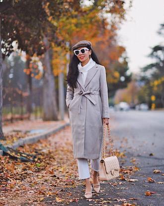 sunglasses tumblr white sunglasses coat white coat shoes mules bag chic