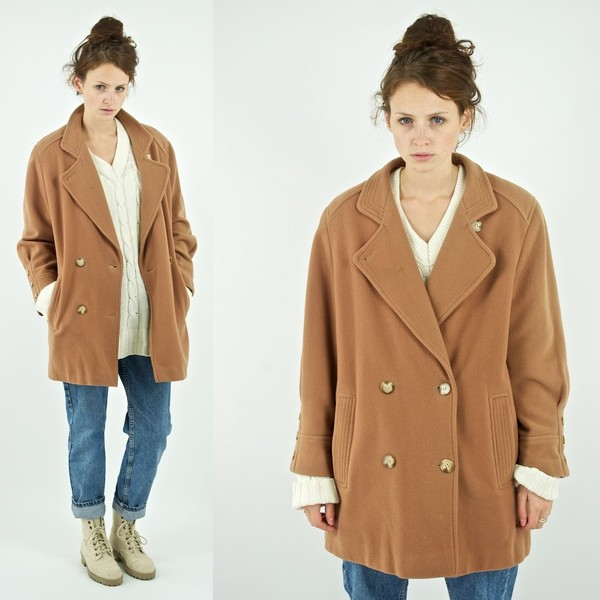 coat camel boyfriend coat warm winter coat vintage