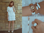 dress,ring,bracelets,watch,gold,shoes,sandals,lace,lace dress,white dress,jewels