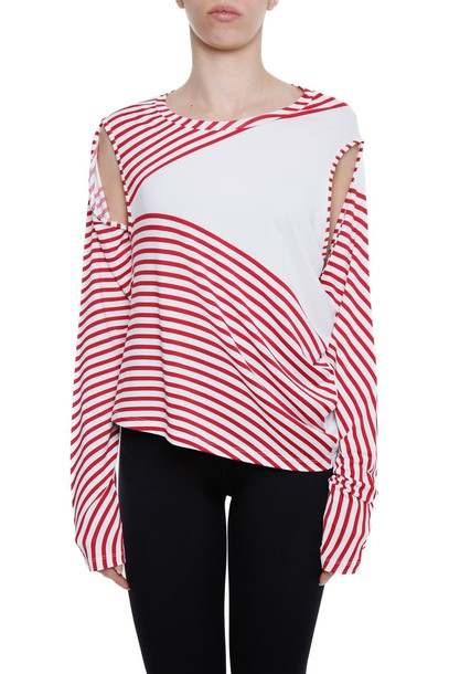 Mm6 Maison Margiela top striped top white red