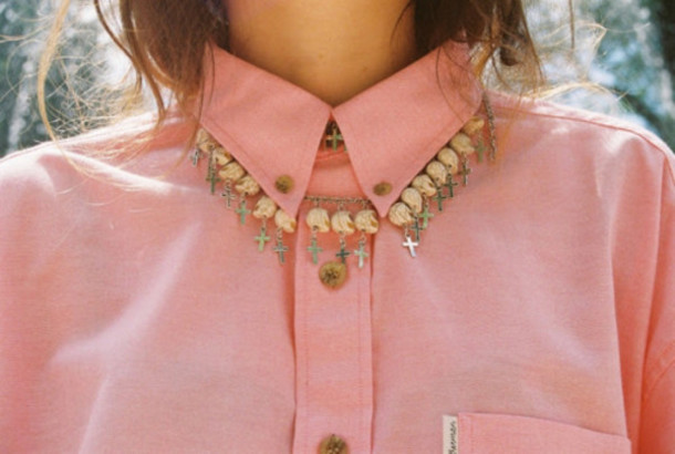 necklace cross necklace skull blouse