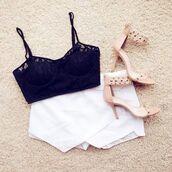 shoes,beige,studded,heel sandals,skirt,shirt