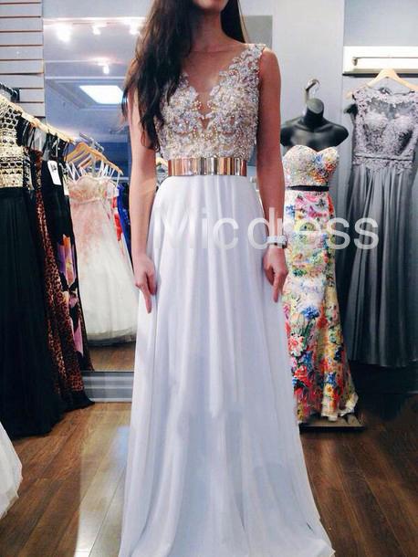 91f13e4e71 Beautiful White Beading V-Neck Long Chiffon Prom Dresses Summer ...