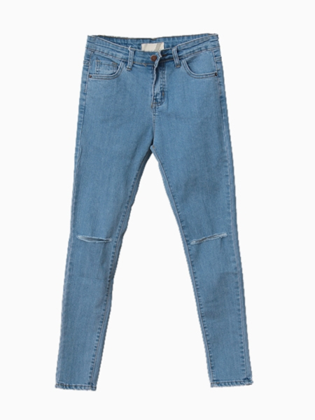 Light Blue Skinny Jeans With Knees Cut Out | Choies