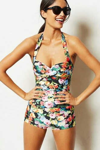 swimwear floral swimwear vintage style