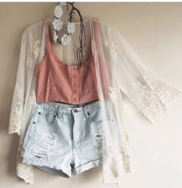 blouse white outfit pretty cute festival festival hippie hippie crop tops crop tops top coral orange dark button up buttons shorts high blue light blue ripped shorts ripped denim kimono cardigan see through sweet sweater