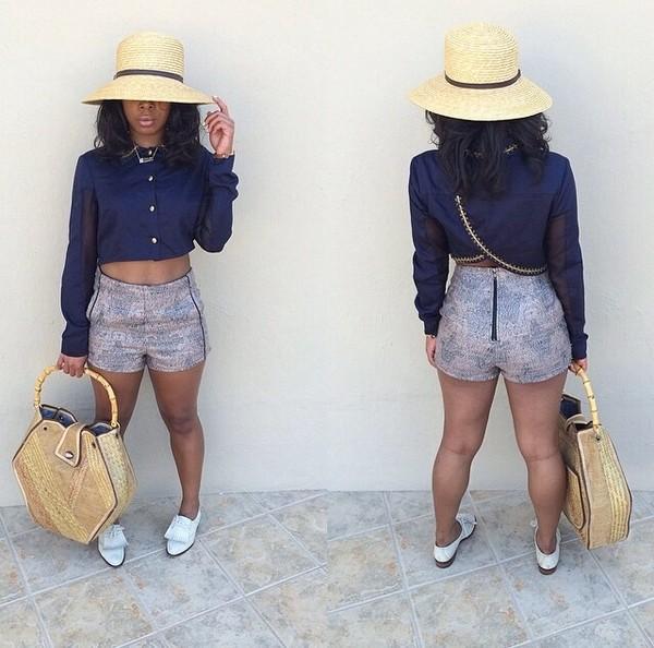 hat shirt shorts bag shoes