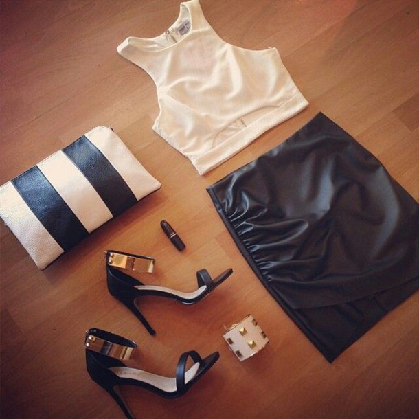 top white crop tops sleevless fauxleather skirt