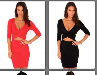 dress cut-out dress sexy dress cut-out dress cross over dress red dress black dress